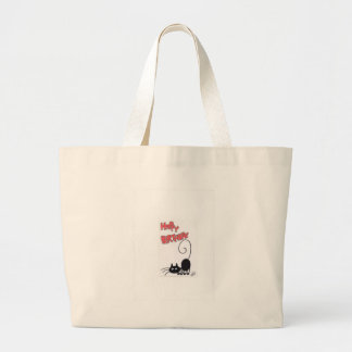 Happy Birthday - cartoon black cat Large Tote Bag