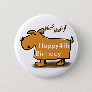 Happy Birthday cartoon dog (age) Button