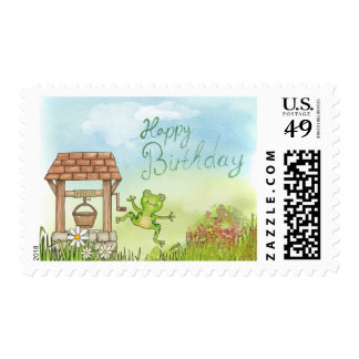 Happy Birthday Cartoon Frog and Well Stamp