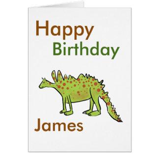 Happy birthday cartoon green dinosaur boys(name) card