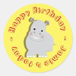 Happy Birthday Cartoon Hippo Personalized Classic Round Sticker