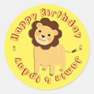 Happy Birthday Cartoon Jungle Lion Personalized Classic Round Sticker