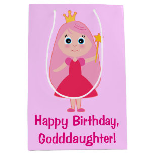 Happy Birthday Cartoon Princess Goddaughter Medium Gift Bag