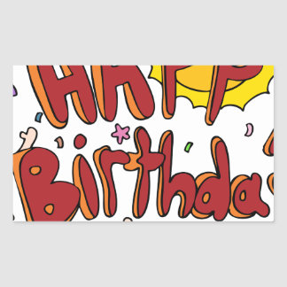 Happy Birthday Cartoon Text People Rectangular Sticker