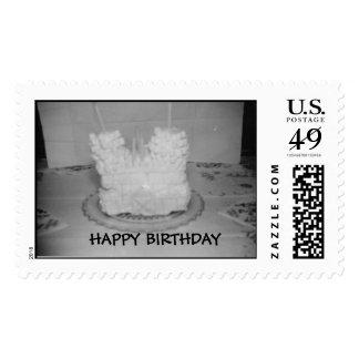 Happy birthday castle cake postage stamp