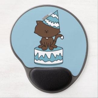 Happy Birthday Cat Blue Birthday Cake Gel Mousepad