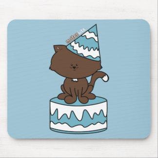 Happy Birthday Cat Blue Birthday Cake Mousepad