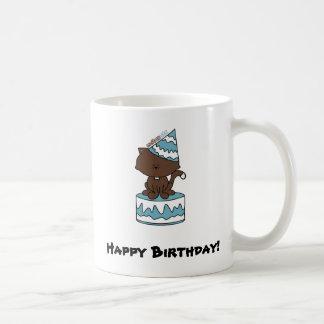 Happy Birthday Cat Blue Birthday Cake (Mug or Cup) Classic White Coffee Mug