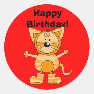 Happy Birthday cat costume Sticker