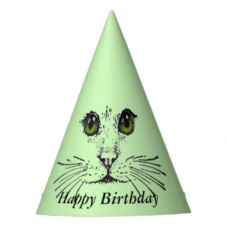 Happy Birthday Cat Face Big Green Eyes Party Hat