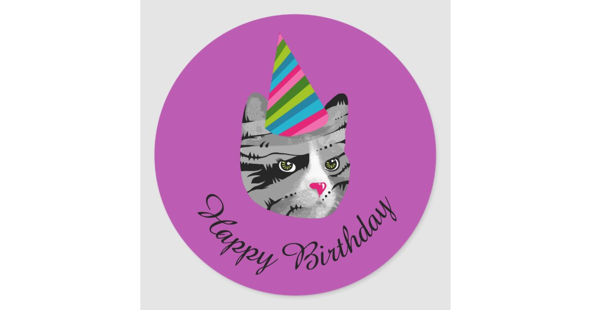 Happy Birthday Cat In Party Hat Classic Round Sticker