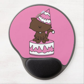 Happy Birthday Cat Pink Birthday Cake Gel Mousepad