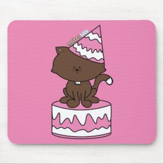 Happy Birthday Cat Pink Birthday Cake Mousepad