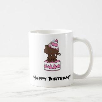 Happy Birthday Cat Pink Birthday Cake (Mug or Cup) Classic White Coffee Mug