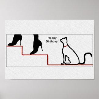 Happy Birthday Cat Poster