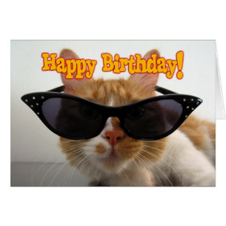 Happy Birthday - Cat Wearing Sunglasses Card