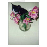 Happy Birthday cat with flowers in vase Greeting Card