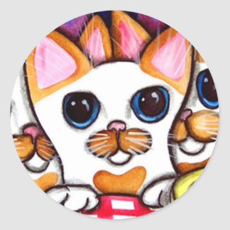 Happy Birthday Cats Classic Round Sticker