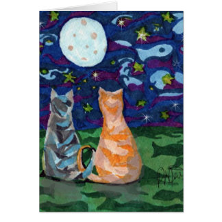 Happy Birthday Cats In Moonlight Card