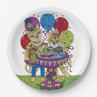 Happy Birthday Cats Paper Plate