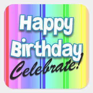 Happy Birthday Celebrate Square Sticker