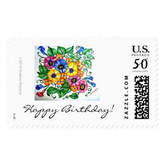 HAPPY BIRTHDAY CELEBRATION 10 FLORAL POSTAGE