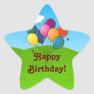 Happy Birthday Celebration Balloons Star Stickers