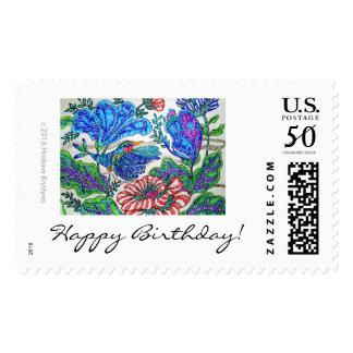 HAPPY BIRTHDAY CELEBRATION FLORAL WITH HUMMINGBIRD POSTAGE