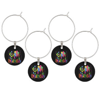 Happy Birthday Celebrations Wine Charms