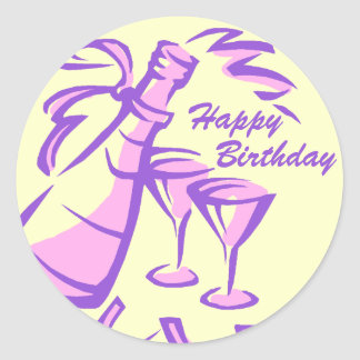 Happy Birthday Champagne Bottle and Glasses Classic Round Sticker