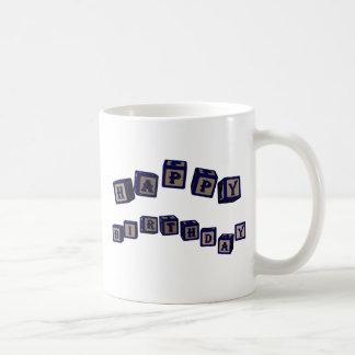 Happy Birthday Charles toy blocks in blue Coffee Mug