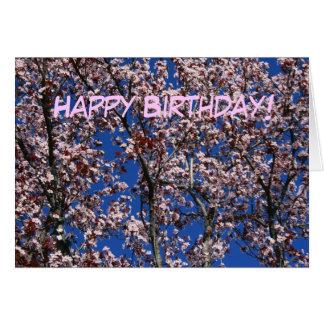Happy Birthday Cherry Blossoms greeting card
