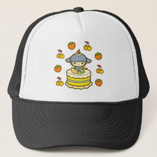 Happy Birthday cherry strawberry cream cake cute Trucker Hat