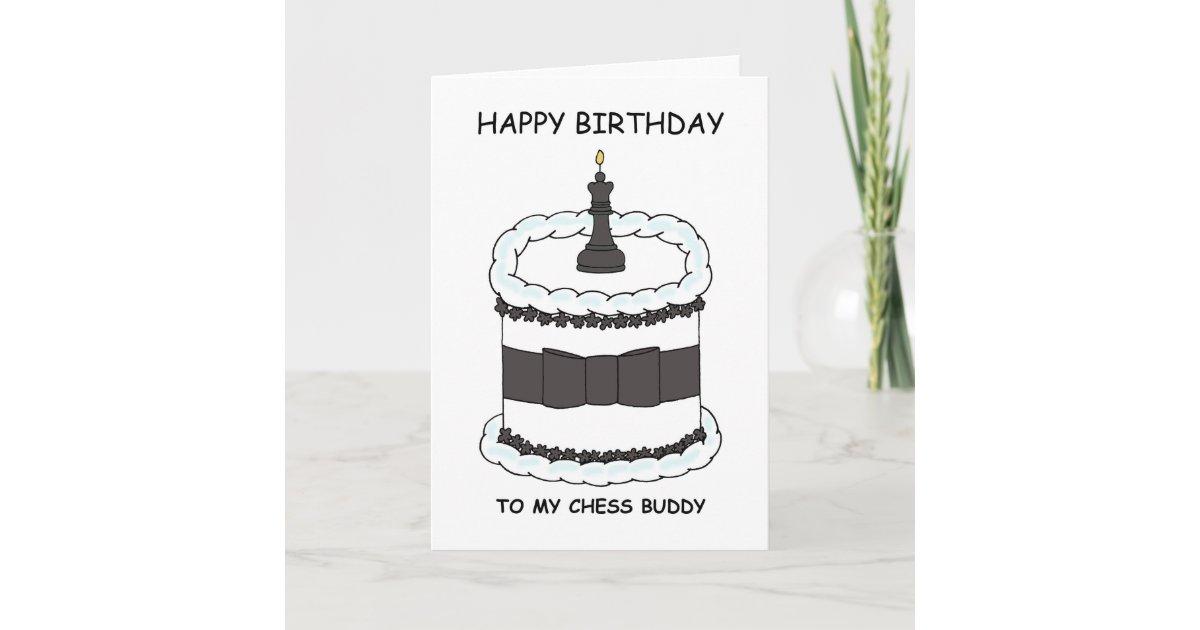 Outstanding Happy Birthday Chess Buddy Cartoon Cake Card Zazzle Com Funny Birthday Cards Online Overcheapnameinfo