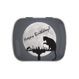 Happy Birthday! Chess Full Moon Cat and Mouse Game Candy Tins