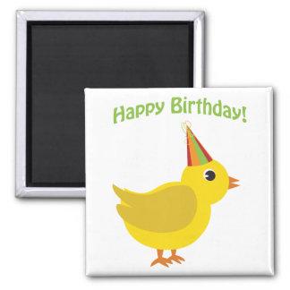 Happy Birthday! chick 2 Inch Square Magnet