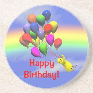 Happy Birthday Chicken and Balloons Drink Coaster