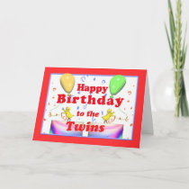 Happy Birthday Chickens for Twins Card