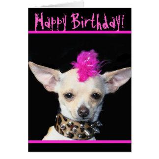 Happy Birthday Chihuahua Punk greeting card