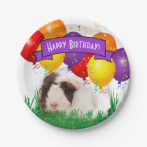 Happy Birthday Childs Party Guinea Pig Balloons Paper Plate