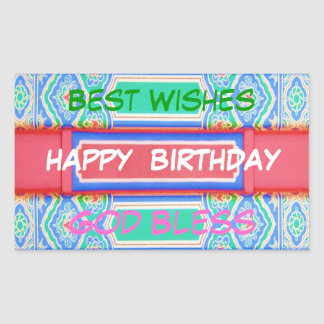 Happy Birthday - Chinese Lucky Colour Pattern Rectangular Sticker