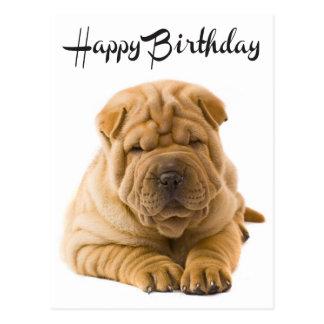 Happy Birthday Chinese Shar Pei Puppy Dog  Card Post Card