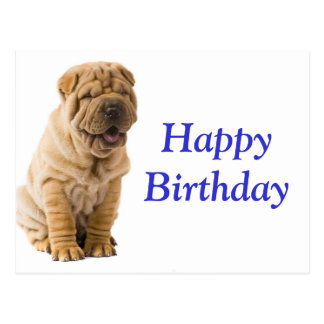 Happy Birthday Chinese Shar Pei Puppy Dog  Card Postcards