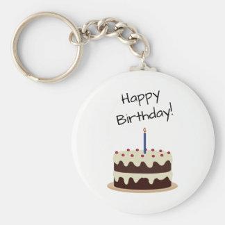 Happy Birthday Chocolate and Vanilla Cake Keychain