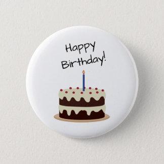 Happy Birthday Chocolate and Vanilla Cake Pinback Button