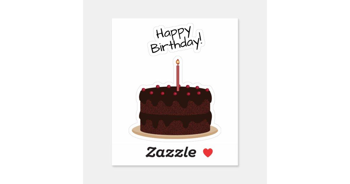 Remarkable Happy Birthday Chocolate Cake Contour Sticker Zazzle Com Funny Birthday Cards Online Fluifree Goldxyz