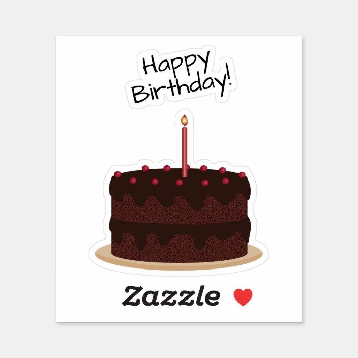 Pleasing Happy Birthday Chocolate Cake Contour Sticker Zazzle Com Personalised Birthday Cards Veneteletsinfo