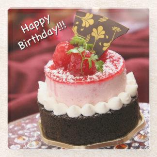 Happy Birthday Chocolate Cake Glass Coaster