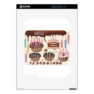 Happy birthday chocolate pack design decals for the iPad 2