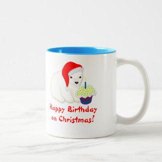 Happy Birthday Christmas Mug with Polar Bear Santa